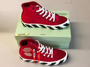 Off-White Vulc High Top Red Converse Sneakers by Virgil Abloh US 8.5 BRAND NEW!!