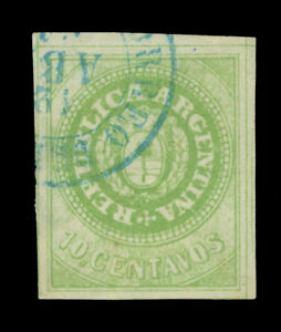 ARGENTINA 1863 Seal of the Republic 10c yellow green Scott# 7F used SUPERB stamp