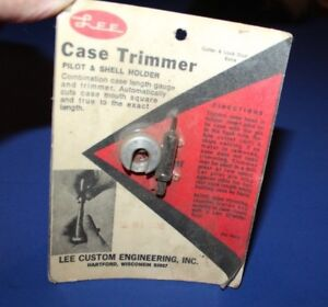 Lee Case Trimmer Pilot & Shell Holder for 3D M1 CARB New Old Stock
