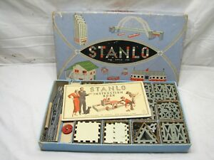 Stanlo No 4 Metal Construction Building Toy Set Stanley Tools wBox Instructions