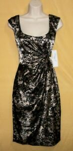 Maggy L women's black blush taupe paisley 6 cocktail evening dress top 6 $118