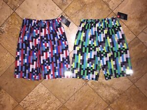 NWT Under Armour Set of 2 UA Pixel Zoom Volley Swimsuit Surf Shorts Youth Boys L