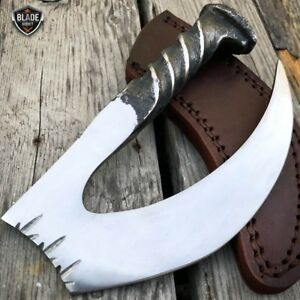 Hand Forged Railroad Spike Carbon Hunting Gut Hook Claw Knife Fixed Blade Case
