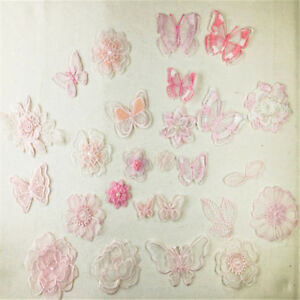 Pink Gauze Embroidery  Lace Trims Butterfly Patch Appliques Clothing accessories