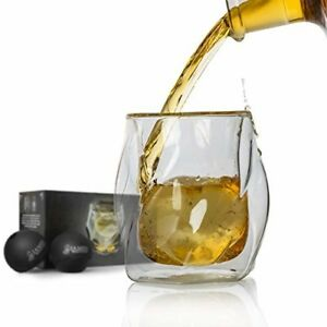 Double Wall Whiskey Glasses Set+free Sphere Ice Ball Mold 2 Set Unique Tumblers