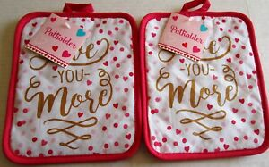 VALENTINE'S DAY POTHOLDERS  Love You More  Set of 2 With Glitter