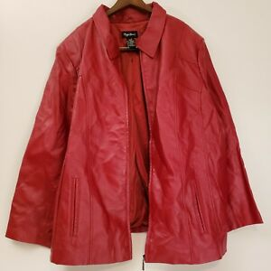 Maggie Barnes 100% Genuine Leather Jacket HOT RED Women's Size 3X