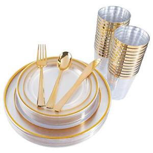 150 Pieces Gold Plastic Plates & Silverware & Cups Clear Disposable Plastic Din