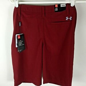 New Under Armour Boy's Shorts Youth Large Golf Match Play Maroon dark Red 2017