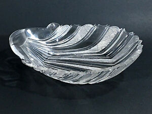 Cut crystal bowl clear color cross hatch design shell shape 11 x 8 x 5 vintage