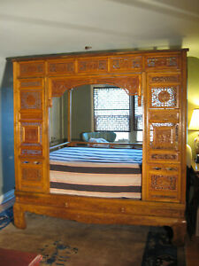 A Carved Camphor Wood Chinese Wedding Bed from 1800`s