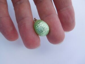 Faberge Imperial Russian 1900 14K 56 Gold Lime Green Enamel Egg Charm Pendant !