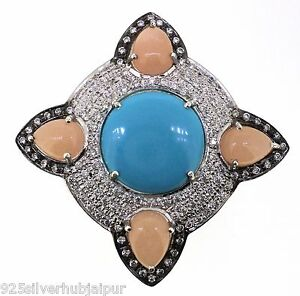 925 SOLID STERLING SILVER HANDMADE RING LABMADE TURQUOISE MOONSTONE AND CZ 7.5