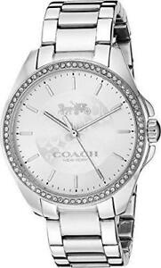 NWT COACH Womens Tristen Silver Dial Crystal Stainless Steel Watch 14503136 $250