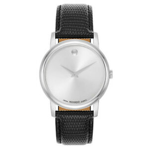 Mens Watch Movado 2100001 Museum Museum Stainless Steel Case Leather Bracelet