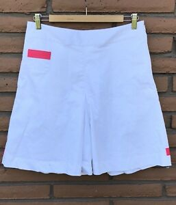 Womens Nike Fit Dry Golf Shorts Size 6 White W Pink UNIQUE EUC