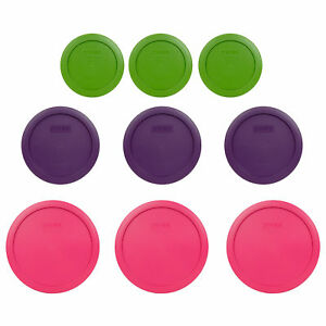 Pyrex Replacement Lids (3) 7200-PC Green (3) 7201-PC Purple (3) 7402-PC Fuchsia