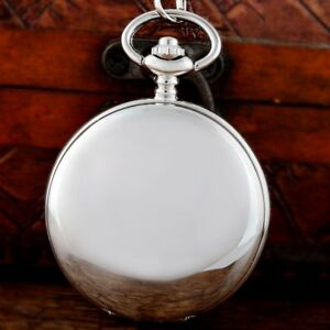 Vintage Silver Double Hunter Mechanical Pocket Watch Windup Antique Fob Chain