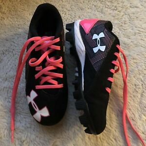 Under Armour Girls Baseball Softball Cleats Shoes Pink Black Size 1Y 1