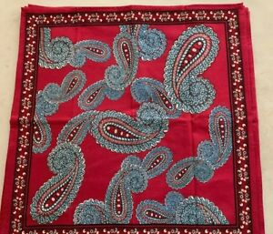 Williams Sonoma Red Blue Paisley 100% Cotton Napkins-6-NWOT-20 x 20