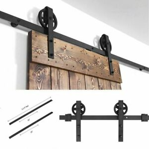 6.6 FT Sliding Barn Door Hardware Carbon Steel Track Roller Kit Set Black