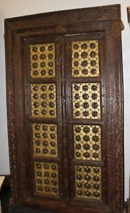 ANTIQUE DOOR GANESHA Temple Doors Dark Brown Gold Brass Teak ARCHITECTURE DESIGN
