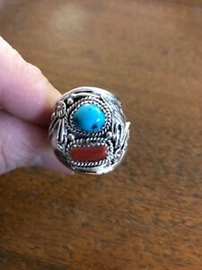 Navajo Mens Turquoise & Red Coral L. Spencer Ring Size 13.5 Native American #B