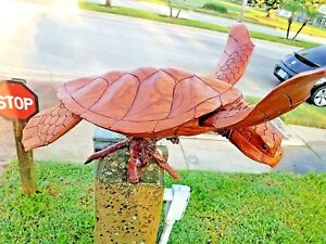 X-LARGE GORGEOUS HANDCARVED MAHOGANY WOOD TURTLE STATUE WITH REMOVABLE FINS!