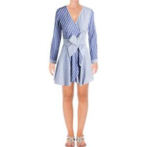 Designer Womens Blue Striped Long Sleeves Casual Wrap Dress M BHFO 7560