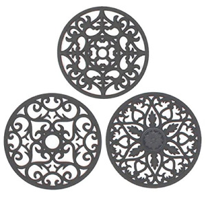 IPHOX 3 Set Silicone Multi-Use Intricately Carved Trivet Mat for Hot Dishes Bowl