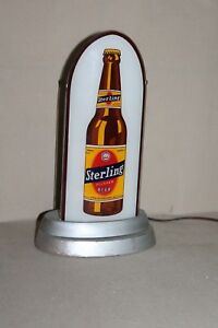 SCARCE 1930's STERLING BEER  REVERSE GLASS BULLET LIGHTED SIGN DISPLAY