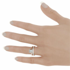 DIAMOND BAND RING SOLITAIRE + ACCENTS 2.21 CT PROMISE 14 KARAT WHITE GOLD LADY