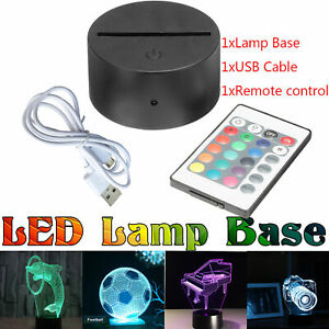 3D Led Lamp Base Night Light USB Touch 7 Colors Change Lamp Panel Remote