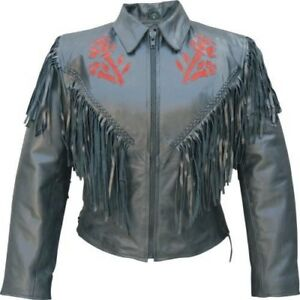 LADIES RED ROSE COWHIDE LEATHER JACKET BRAIDED TRIM FRINGE ACCENT SIZE LARGE