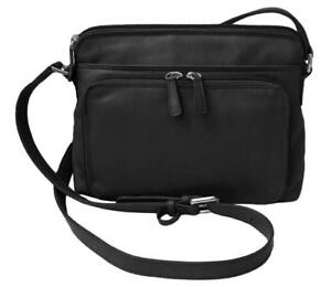Genuine Leather ILI New York Cross Body Shoulder #6333 Handbag Black