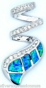 Huge Blue Fire Opal Inlay & White Topaz 925 Sterling Silver Pendant For Necklace