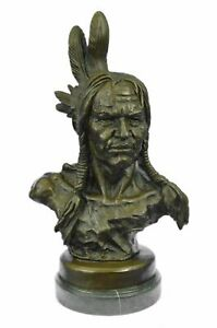 BUST OF INDIAN CHIEF BRONZE SCULPTURE STATUE ORIGINAL SIGNED NICK FIGURE ART LRG