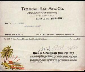 1930 Chandlers Valley PA - Tropical Hat Mfc Co  Vintage Color Letter Head Rare