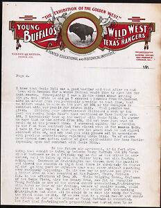 c1900 Young Buffalos Wild West & Texas Rangers Show Western Letter Head history