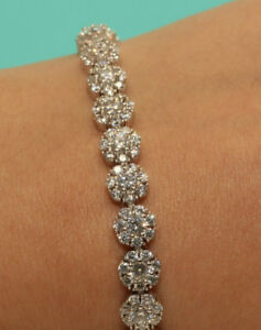 Ladies 14kt Diamond Tennis Bracelet 1ct In White Gold Finish Very Elegant