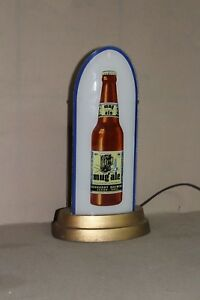SCARCE 1930's BURKHARDT MUG ALE AKRON REVERSE GLASS BULLET LIGHTED SIGN DISPLAY