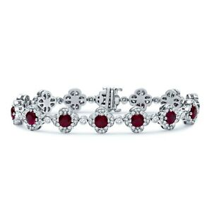 Estate Crypell Designer Platinum 9.05 CTW Diamond & Ruby Tennis Bracelet 43Gram