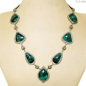 13.21 Ct Pave Diamond Emerald Gemstone Necklace 14k Gold 925 Silver Jewelry PY