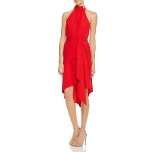 Cameo Womens Red Halter Hi-Low Special Occasion Cocktail Dress XS BHFO 4343