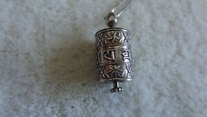 Sterling Silver 925 Tibetan Charm Pendant with Sterling Silver Box Chain