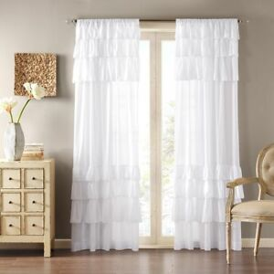 White Curtain Girls Ruffle Panel Bedroom Nursery Drape Window Covering Treatment
