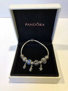 Authentic PANDORA sterling silver bracelet with charms Mum Mom son daughter