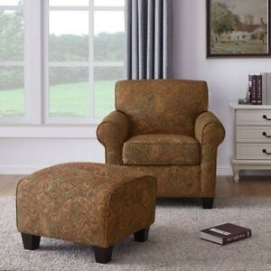 Paisley Print Accent Arm Chair amp; Ottoman Living Room Furniture Chairs Armchair
