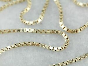 14K Solid Yellow Gold Box Necklace Real Gold Chain 16