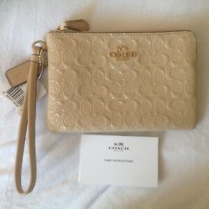 COACH Embossed Signature C Patent Leather Wristlet - F55206 - Platinum Sand-NWT!